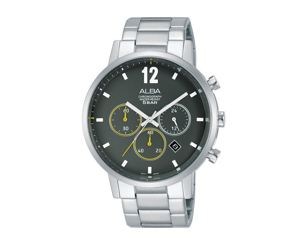ALBA Men's Hand Watch PRESTIGE Stainless Steel Bracelet and Military Green Dial AT3C55X1