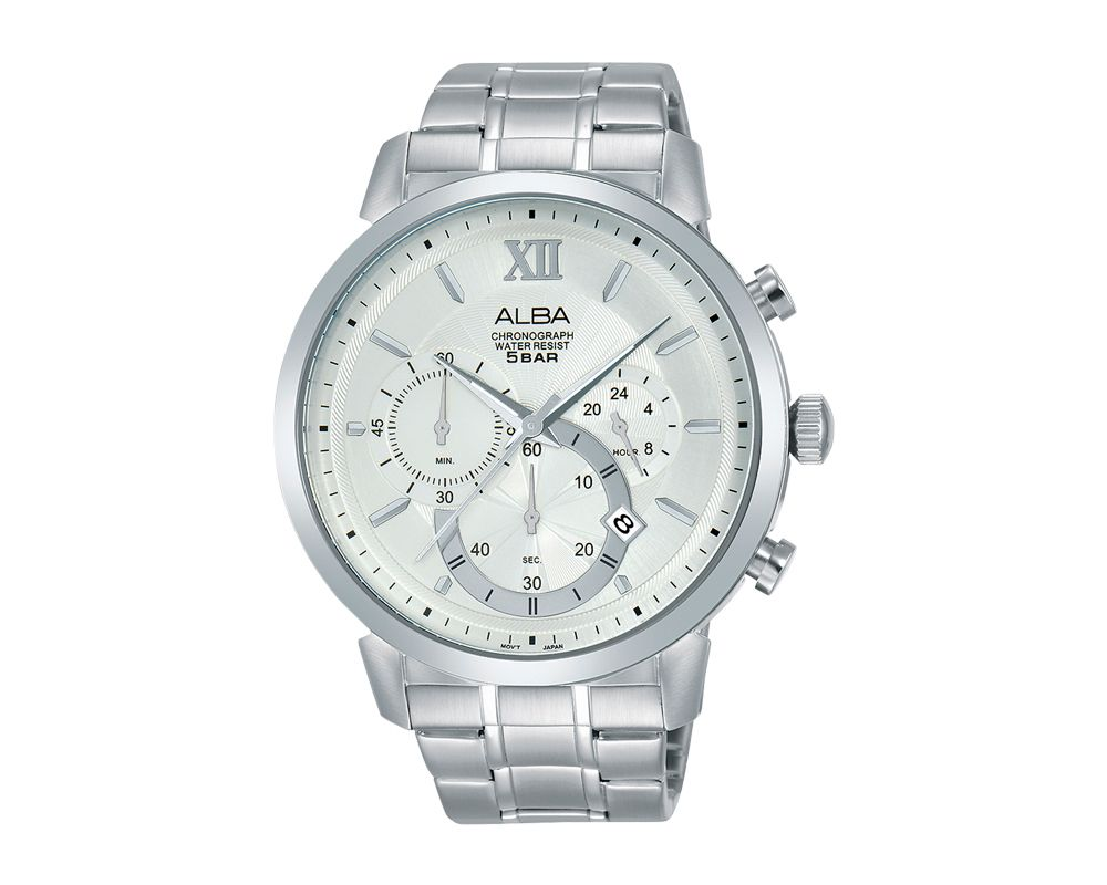 ALBA Men's Hand Watch PRESTIGE Stainless Steel Bracelet and Silver White Dial AT3C41X1