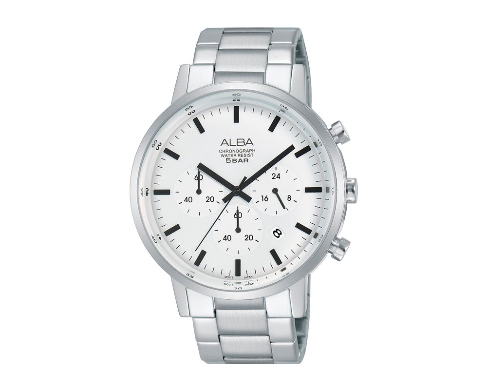 ALBA Men's Hand Watch PRESTIGE Stainless Steel Bracelet and White Dial AT3C49X1