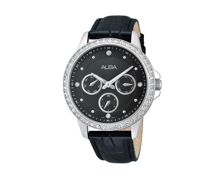 ALBA Ladies' Hand Watch FASHION Black Leather Strap and Black Patterned Dial AP6171X1