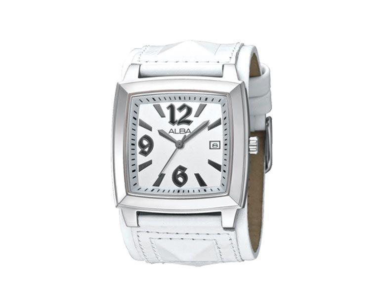ALBA Ladies' Hand Watch FASHION White Leather Strap , White Dial AXDT49X1