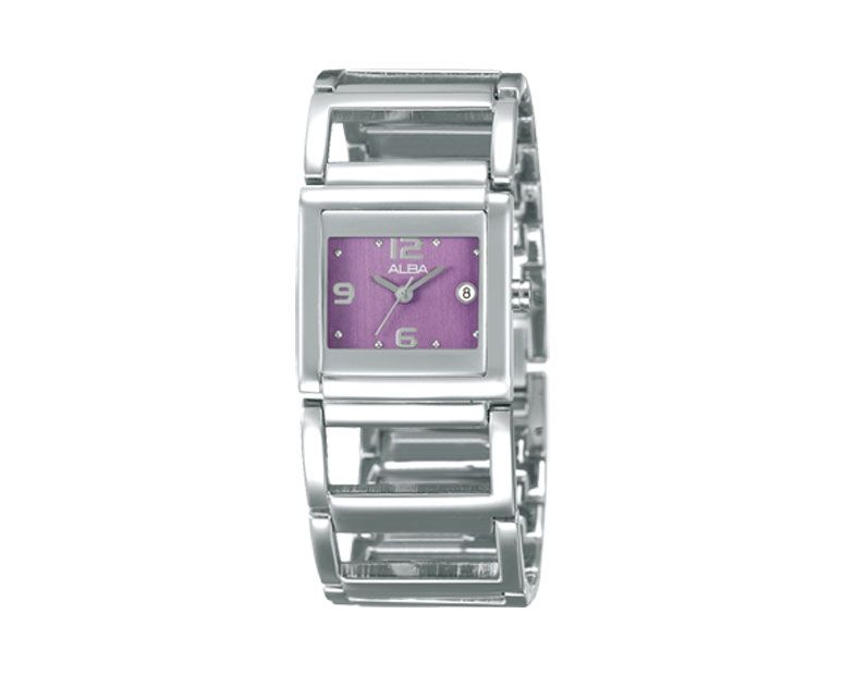 ALBA Ladies' Hand Watch FASHION Stainless Steel Band , Purple Dial AXU023X1