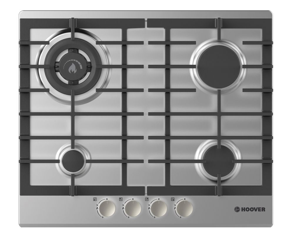 HOOVER Built-In Hob 60 x 60 cm 4 Gas Burners In Stainless Steel Color HGH64SDWCEX