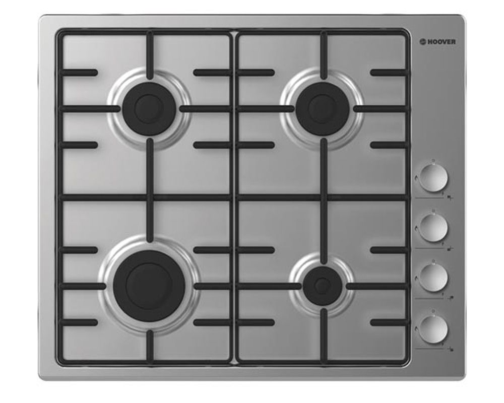 hoover built-in-hob 4 burners Gas 60cm stainless steel hhw6lcx