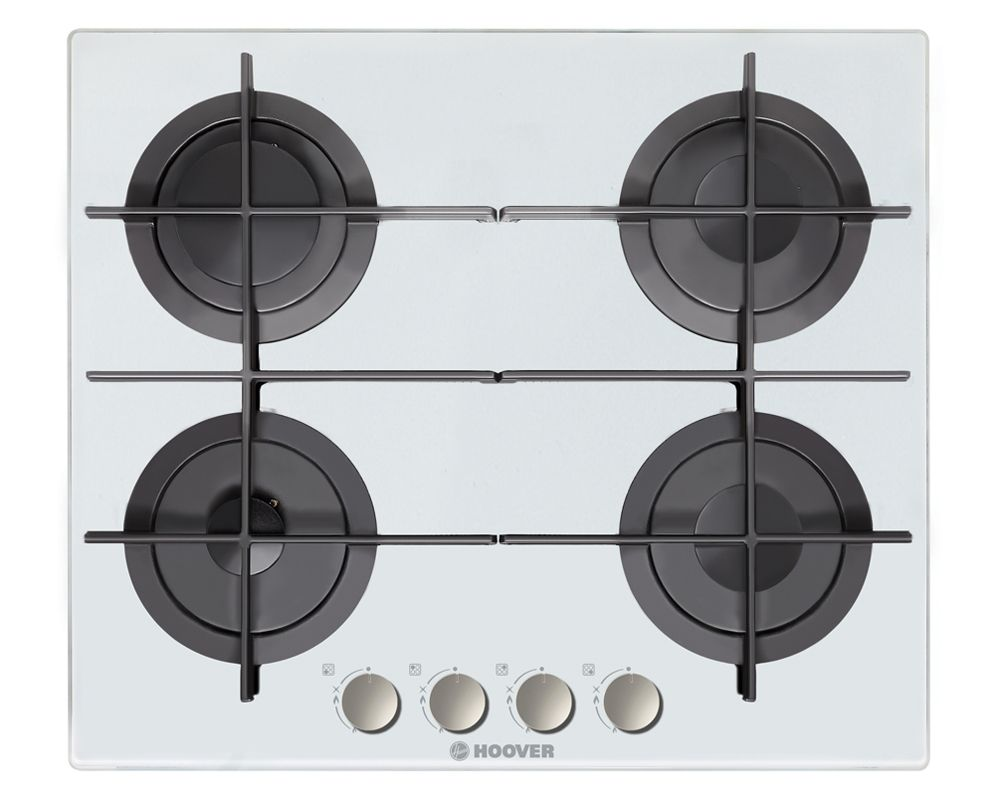 HOOVER Built-In Hob 60 x 60 cm 4 Gas Burners In White Glass Color HGV64SMTCGW