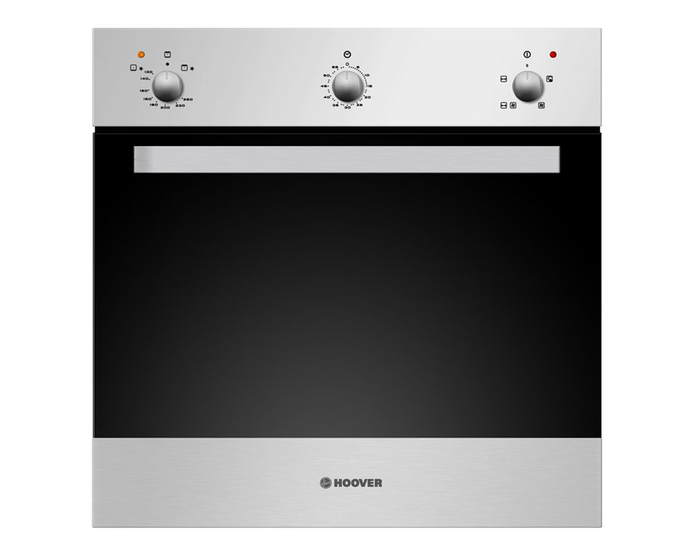 HOOVER Built-In Oven Hoover Built-In Gas Oven Italy 60x60 cm 66 Liter Black Stainless Steel Color with Convection Fan HGGGF3Gas 60 x 60 cm 66 Liter In Stainless Steel x Black Color With Convection Fan HGGGF3