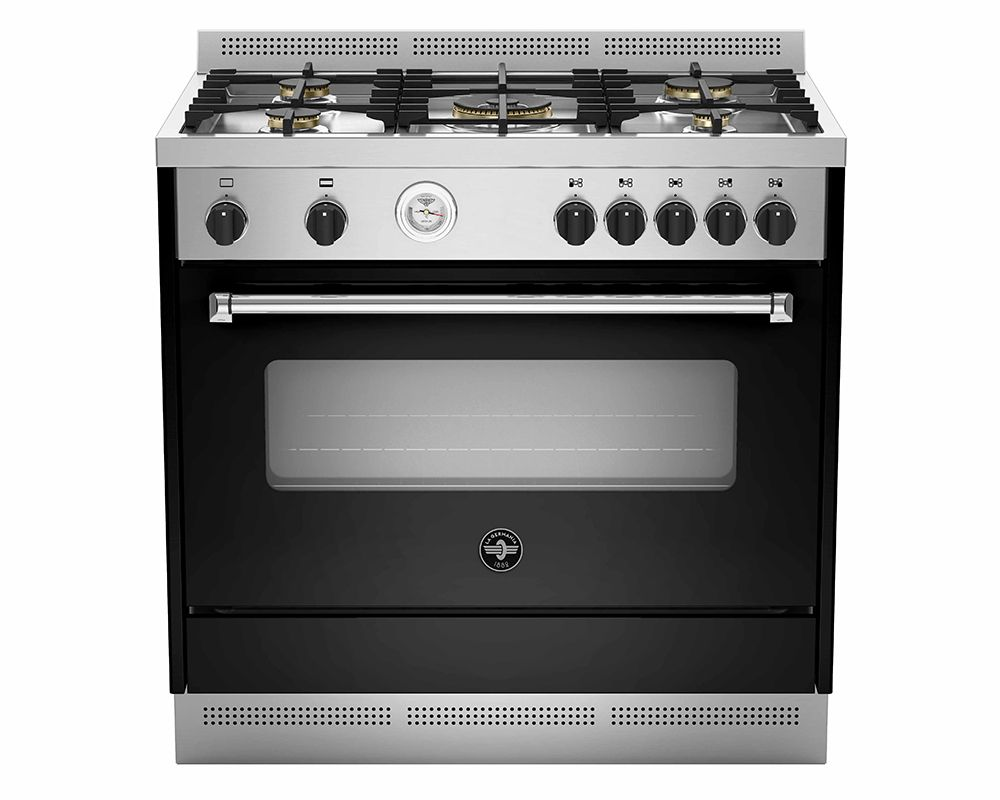 La Germania Freestand Cooker 5 Gas Burners In Stainless X Black Color AMS95C81ANE/2