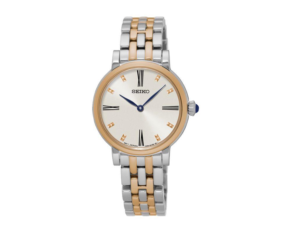SEIKO Ladies' Hand Watch QUARTZ Stainless Steel Bracelet, White Dial, 50m Water Resistant SFQ816P1