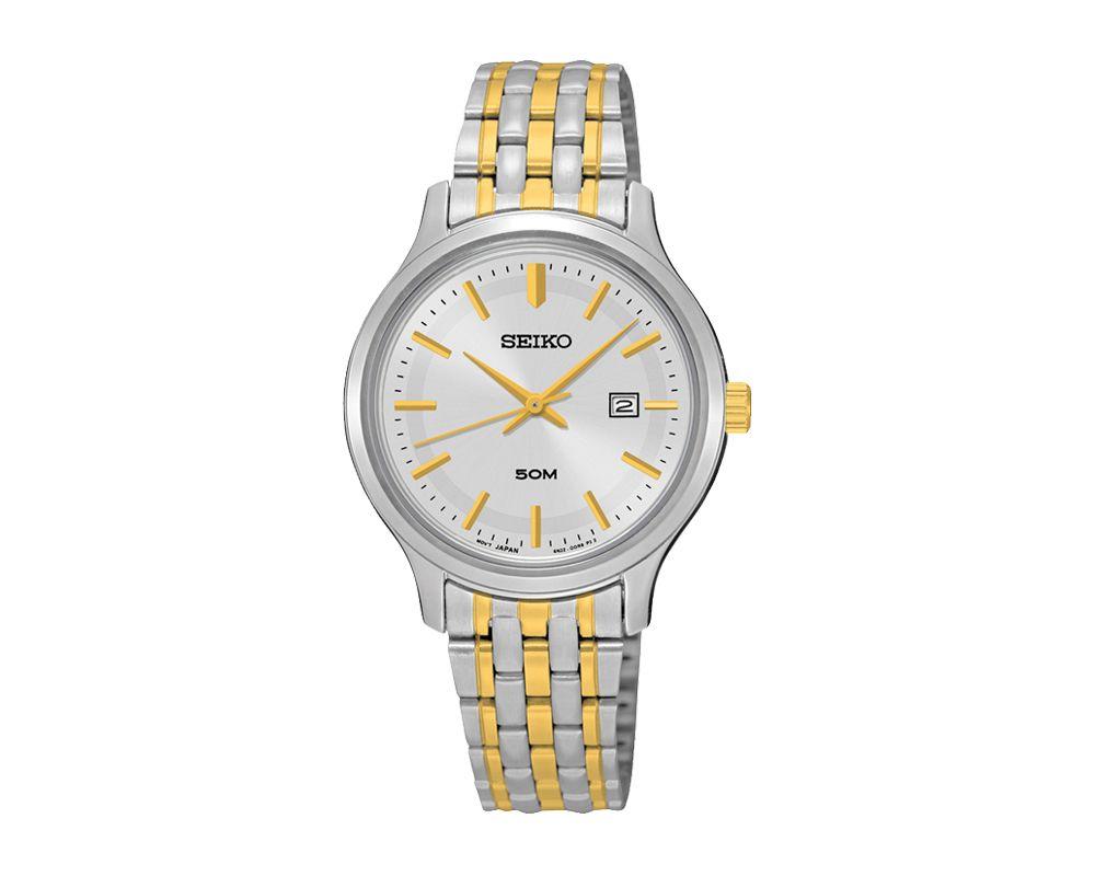 SEIKO Ladies' Hand Watch QUARTZ Stainless Steel Bracelet, White Dial, 50m Water Resistant SUR793P1