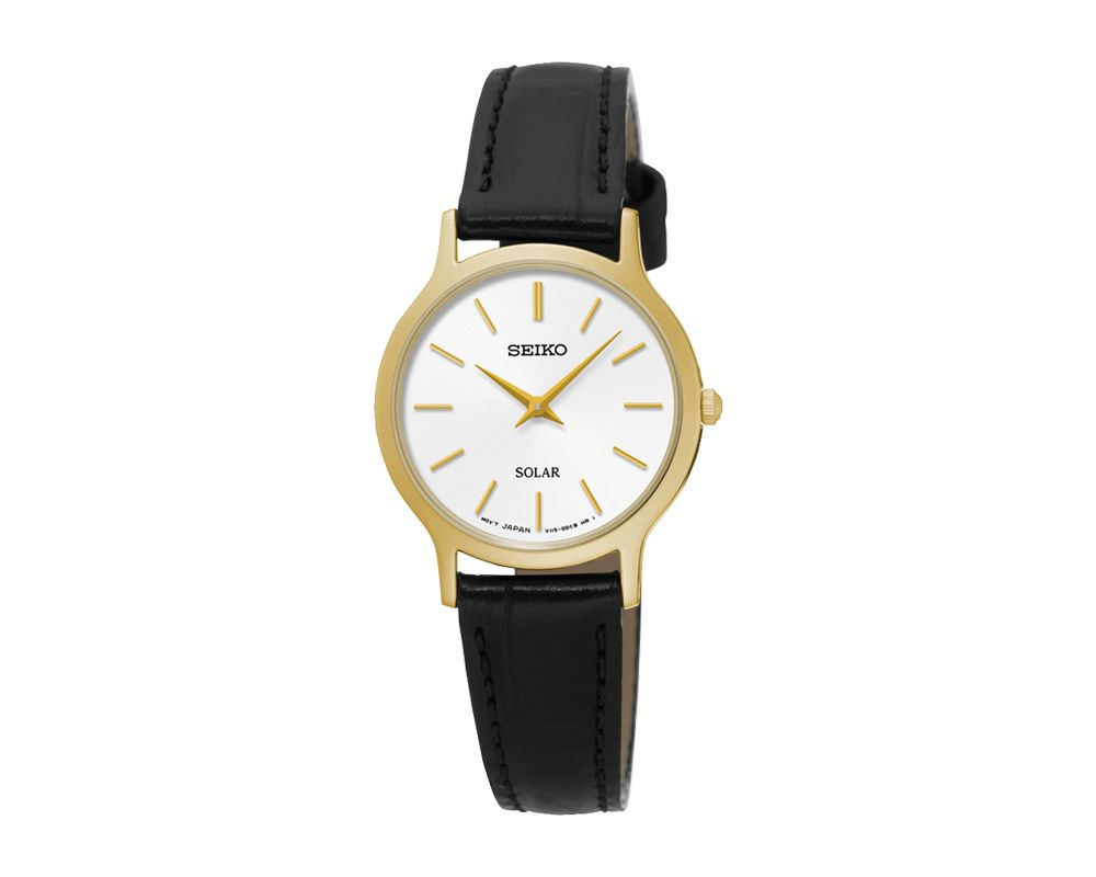 SEIKO Ladies' Hand Watch SOLAR Black Leather Strap, White Dial and Splash Water Resistant SUP300P1
