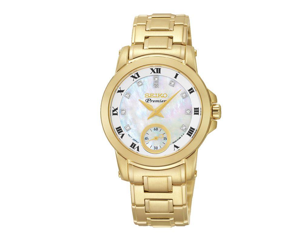 SEIKO Ladies' Hand Watch PREMIER Stainless Steel Bracelet, White Dial SRKZ60P1