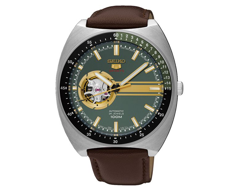SEIKO Men's Hand Watch 5 SPORTS Brown Leather Strap, Green Dial SSA333J1