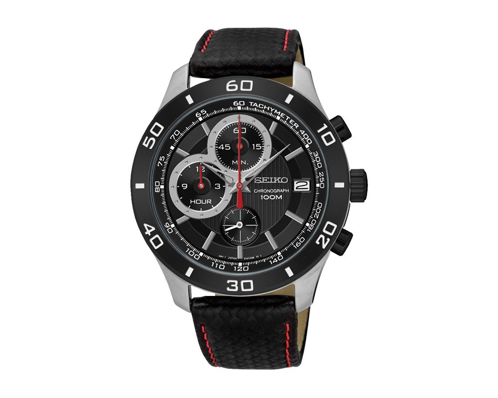 SEIKO Men's Hand Watch CHRONOGRAPH Black Leather Strap, Black Dial and 100m Water Resistant SSB193P1