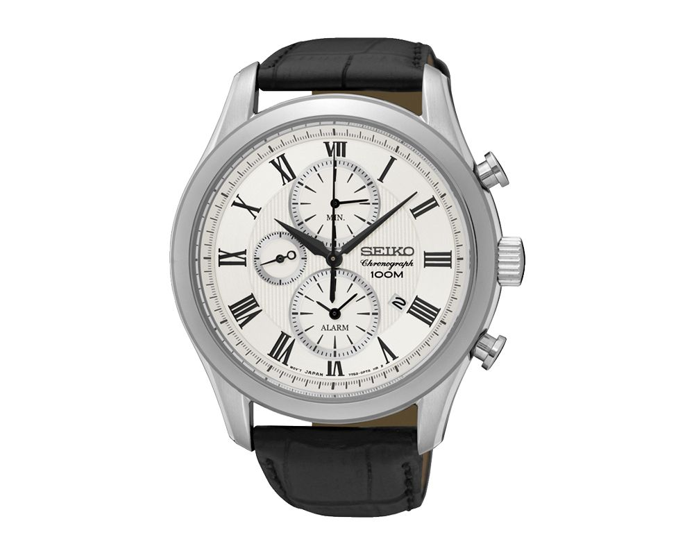 SEIKO Men's Hand Watch CHRONOGRAPH Black Leather Strap, White Dial and 100m Water Resistant SNAF69P1