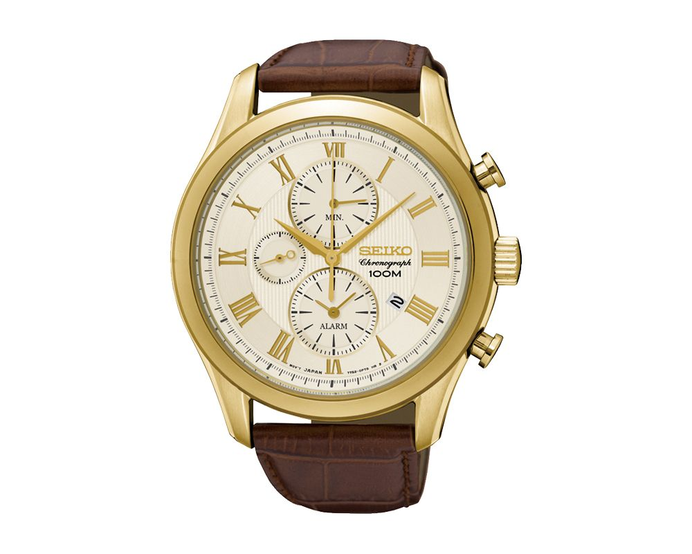 SEIKO Men's Hand Watch CHRONOGRAPH Brown Leather Strap, White Dial and 100m Water Resistant SNAF72P1