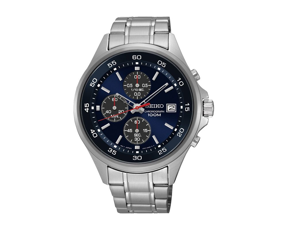 SEIKO Men's Hand Watch CHRONOGRAPH Stainless Steel Bracelet, Blue Dial and Water Resistant SKS475P1