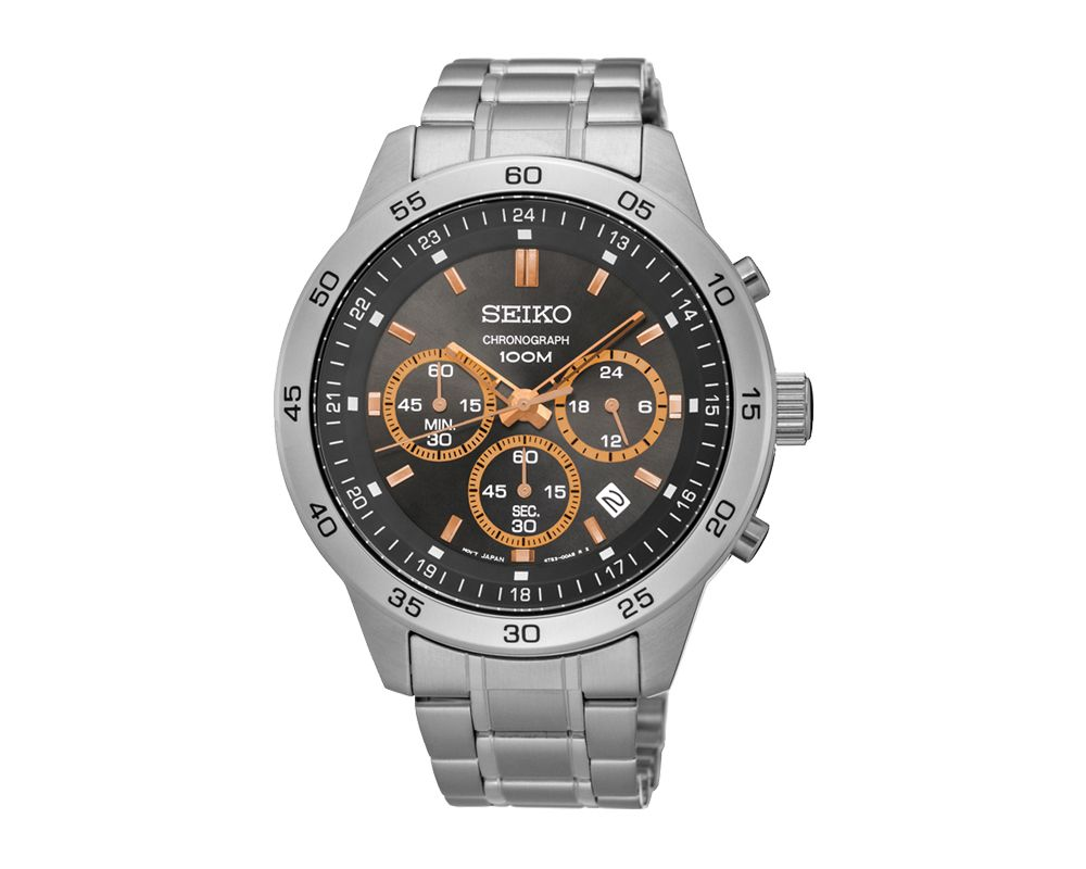 SEIKO Men's Hand Watch CHRONOGRAPH Stainless Steel Bracelet, Black Dial and Water Resistant SKS521P1