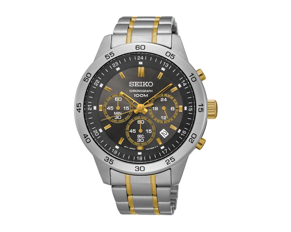 SEIKO Men's Hand Watch CHRONOGRAPH Stainless Steel Bracelet, Black Dial and Water Resistant SKS525P1