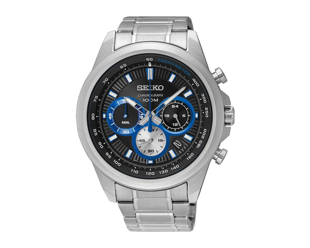 SEIKO Men's Hand Watch CHRONOGRAPH Stainless Steel Bracelet, Black Dial and Water Resistant SSB243P1