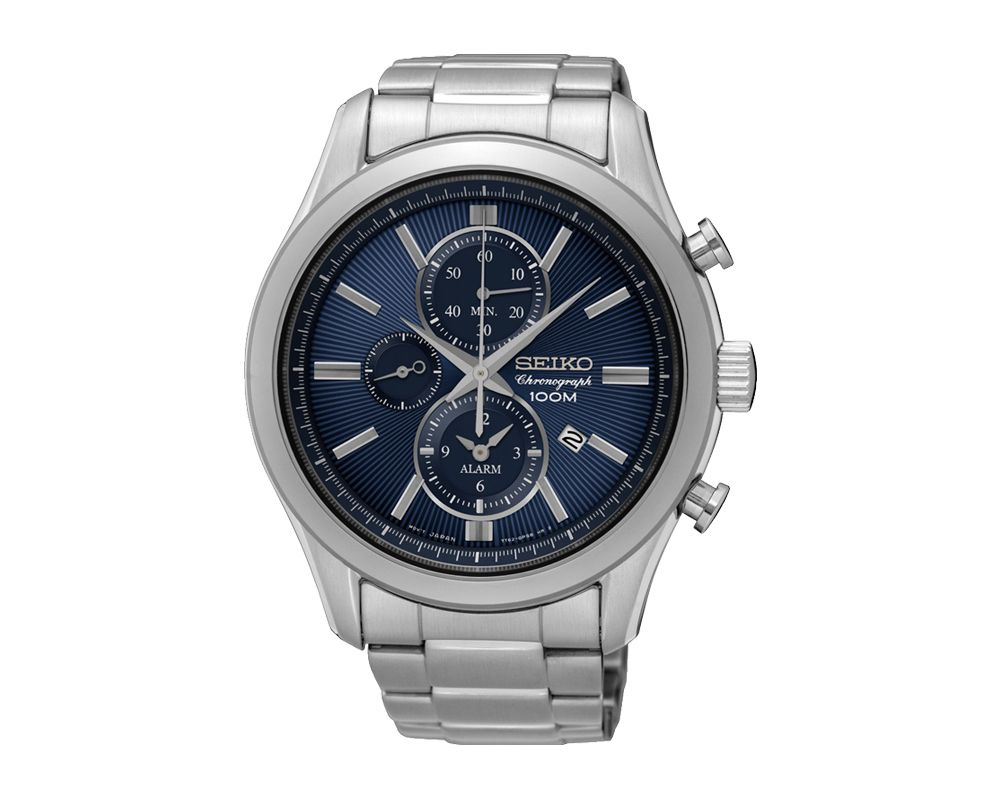 SEIKO Men's Hand Watch CHRONOGRAPH Stainless Steel Bracelet, Blue Dial and Water Resistant SNAF65P1