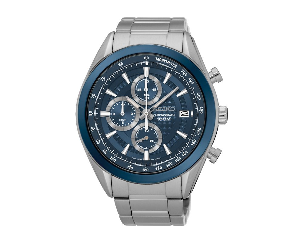 SEIKO Men's Hand Watch CHRONOGRAPH Stainless Steel Bracelet, Blue Dial and Water Resistant SSB177P1