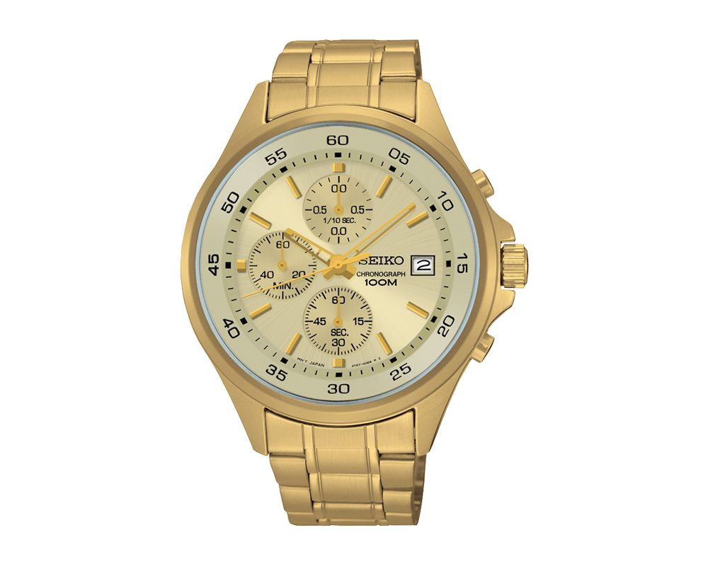 SEIKO Men's Hand Watch CHRONOGRAPH Stainless Steel Bracelet, Golden Dial and Water Resistant SKS482P1