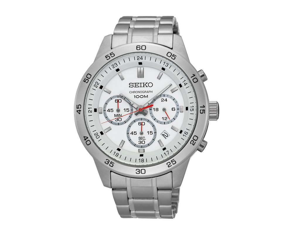 SEIKO Men's Hand Watch CHRONOGRAPH Stainless Steel Bracelet, White Dial and Water Resistant SKS515P1