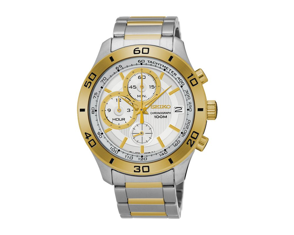 SEIKO Men's Hand Watch CHRONOGRAPH Stainless Steel Bracelet, White Dial and Water Resistant SSB188P1