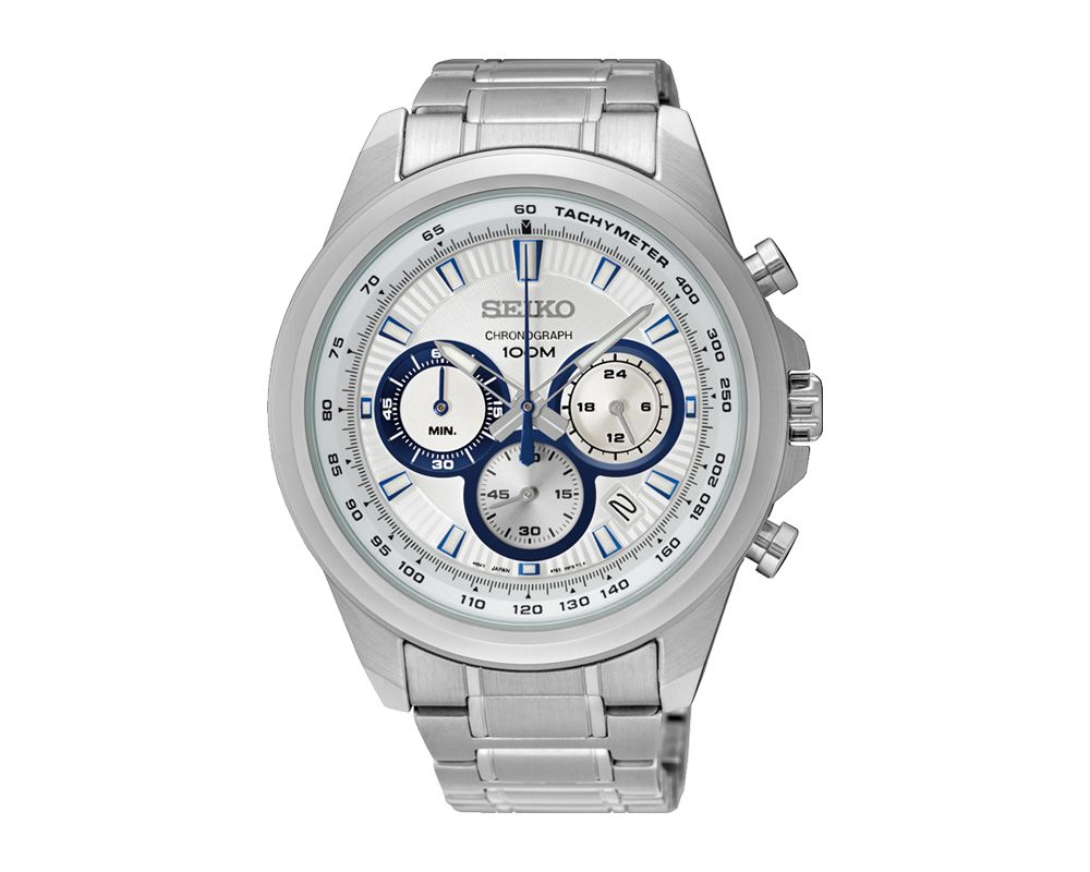 SEIKO Men's Hand Watch CHRONOGRAPH Stainless Steel Bracelet, White Dial and Water Resistant SSB239P1