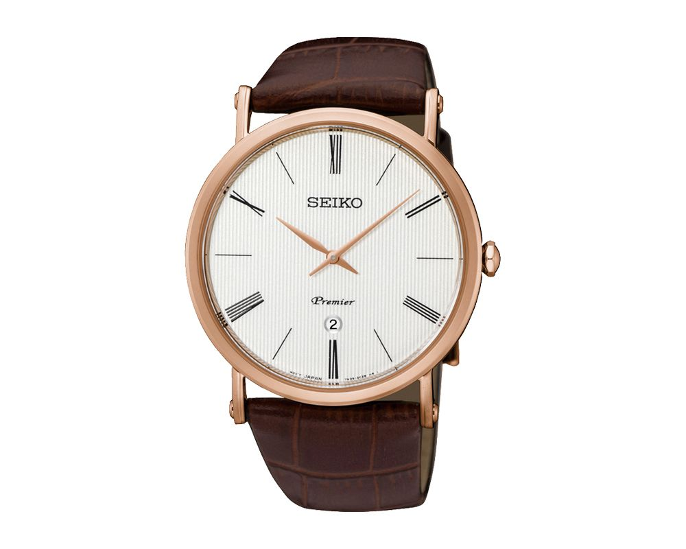 SEIKO Men's Hand Watch PREMIER Brown Leather Strap, White Dial and 30 Meter Water Resistant SKP398P1