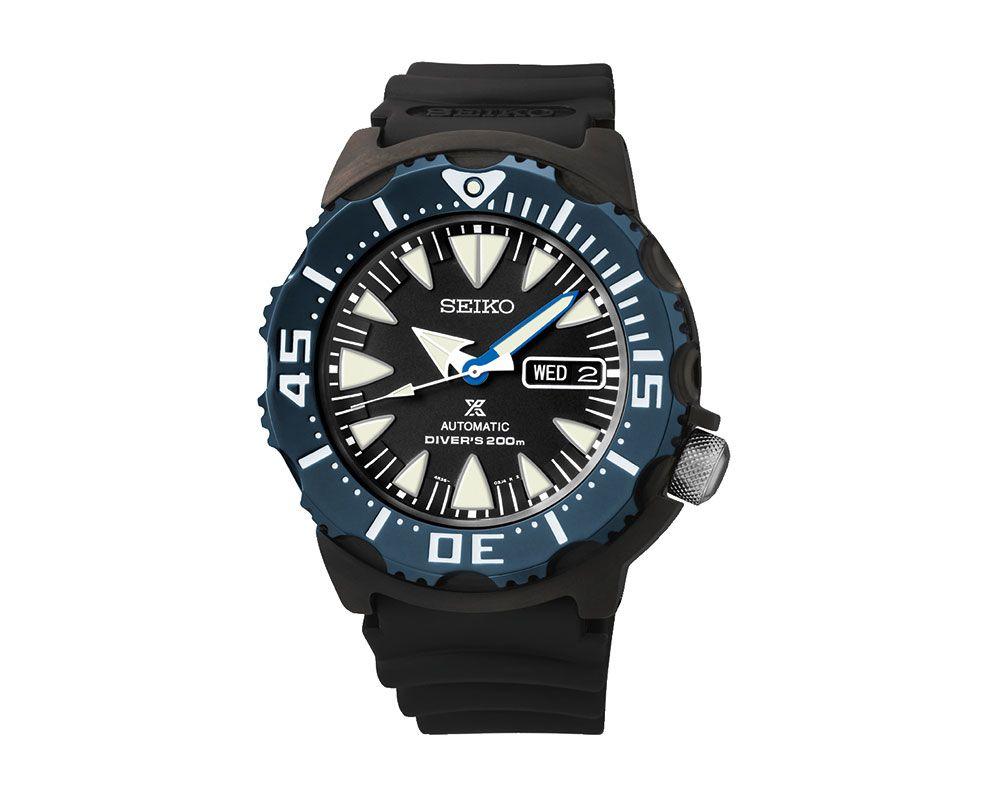 ساعة يد سيكو رجالي بروسبكس سوار مطاطي أسود، مينا لون أسود SRP581K1
