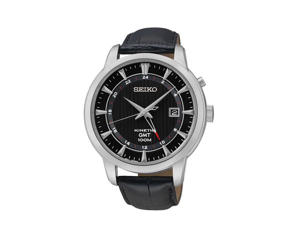 SEIKO Men's Hand Watch Kinetic Black Leather Band and1 Year Warranty SUN033P2