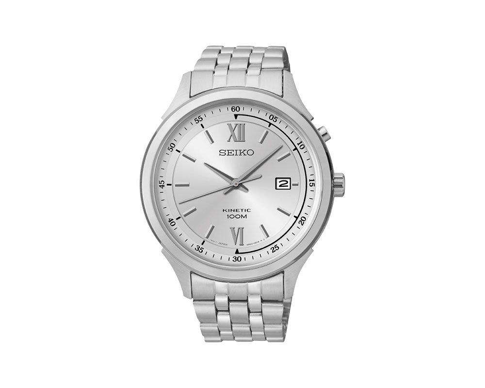 SEIKO Men's Hand Watch Kinetic Stainless Steel Band and 1 Year Warranty SKA653P1