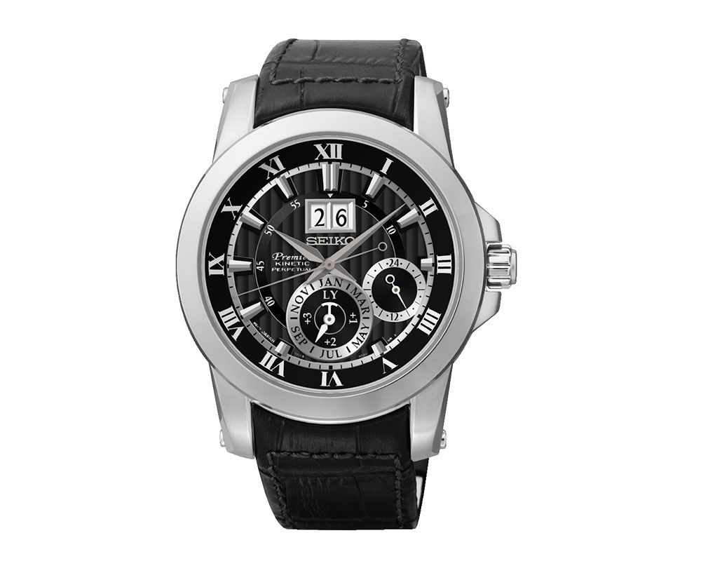 SEIKO Men's Hand Watch Premier Black Leather Band and 1Year Warranty SNP093P2