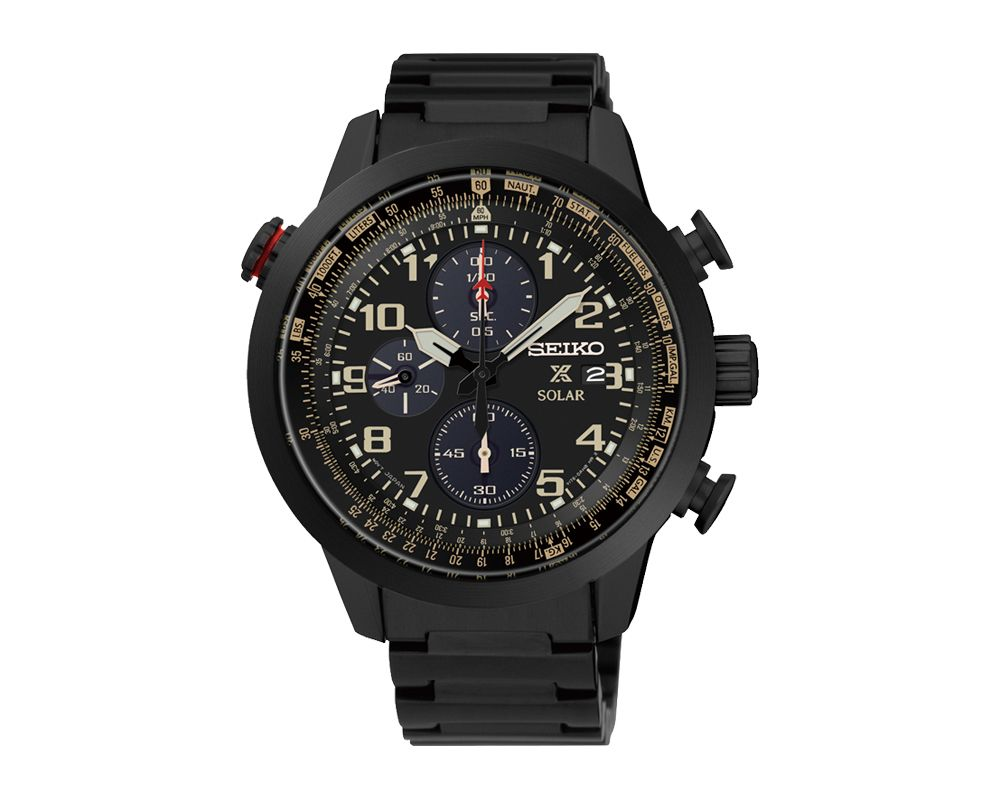 SEIKO Men's Hand Watch PROSPEX Black Stainless Steel Bracelet, Black Dial and Water Resistant SSC419P1