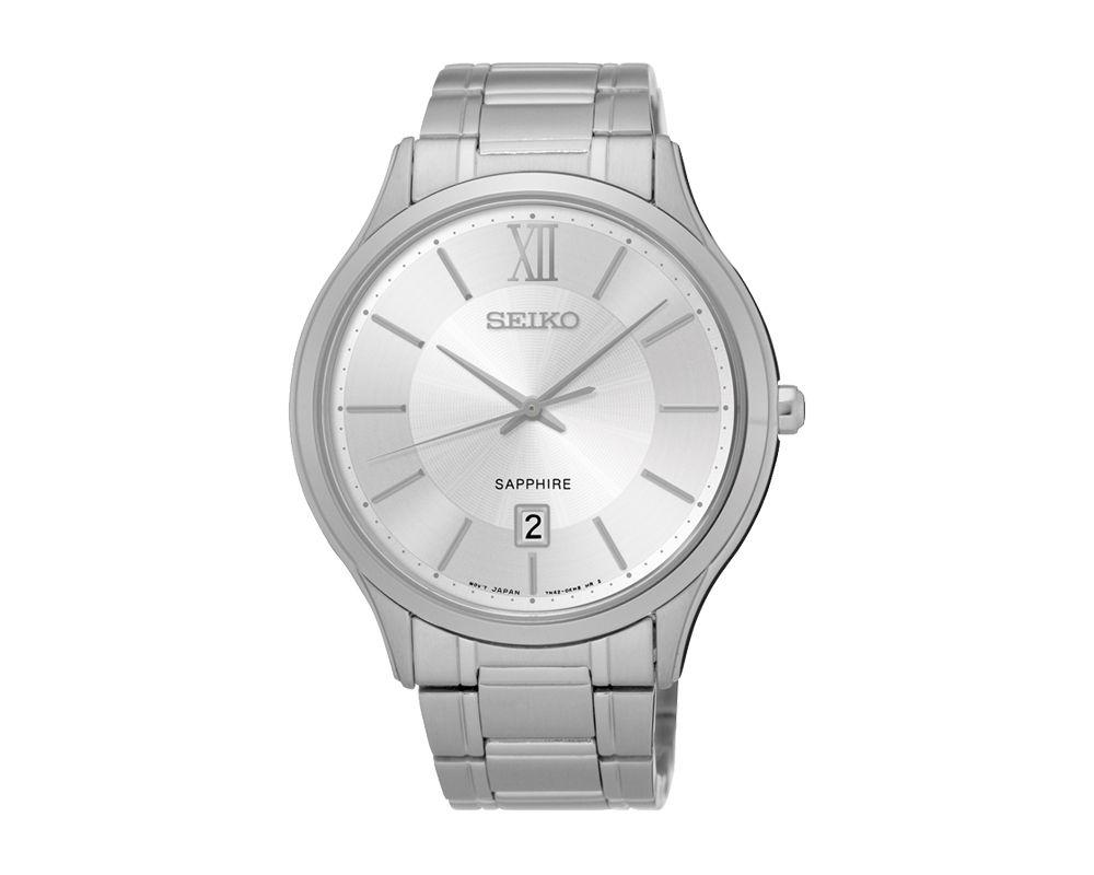 SEIKO Men's Hand Watch QUARTZ Stainless Steel Bracelet, White Dial, 50m Water Resistant SGEH51P1