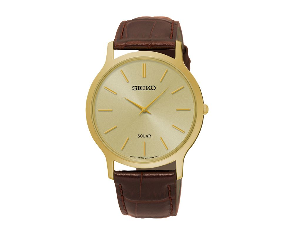 SEIKO Men's Hand Watch SOLAR Brown Leather Strap, Golden Dial and Splash Water Resistant SUP870P1
