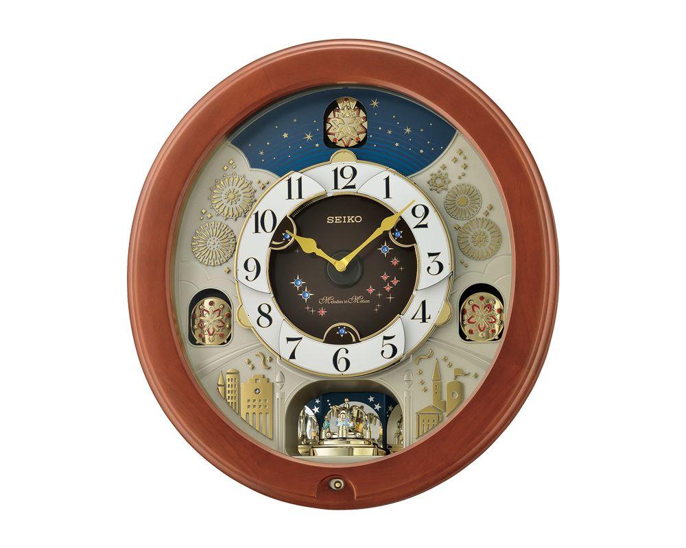 SEIKO Wall Clock Melody In Motion , Plastic Case With Pendulum and Light Sensor QXM376B