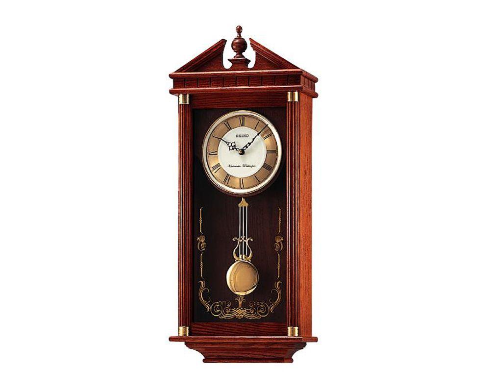ساعة حائط سيكو برواز خشب مزودة ببندول QXH107B