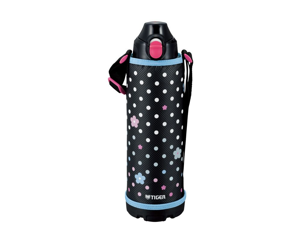 TIGER Stainless Steel Thermal Bottle 1 Litre, In Stainless Color With Black x Colorful Flowers Carrying Case MBO-E100