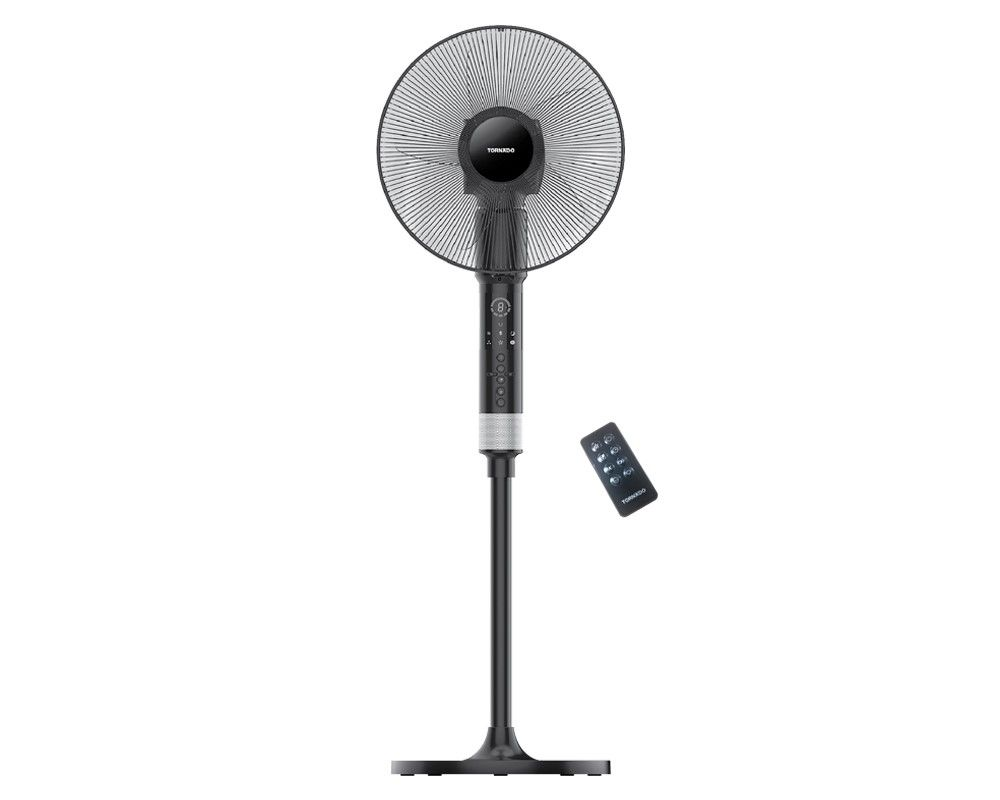 TORNADO Stand Fan 16 Inch With 5 Plastic Blades and Remote Control In Black Color EFS-360/903G