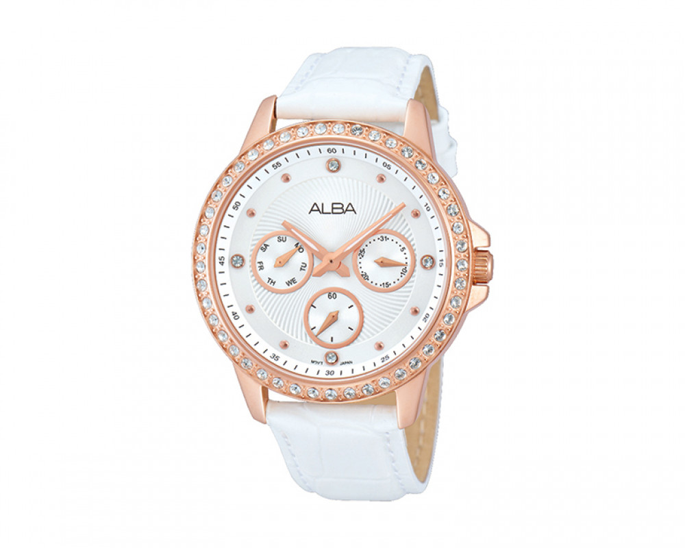 Alba LADIES' Hand Watch Fashion Silver White patterned dial & White leather AP6170X