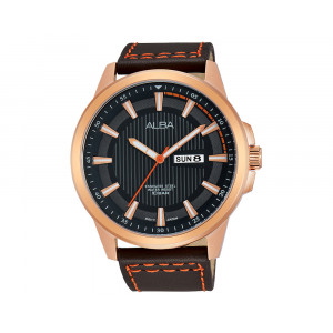 ALBA Men's Hand Watch ACTIVE Dark Brown Leather Strap & Black Patterned Dial AV3316X1