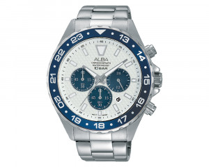 ALBA Men's Hand Watch ACTIVE Stainless Steel Bracelet & Silver White Patterned Dial AT3909X1