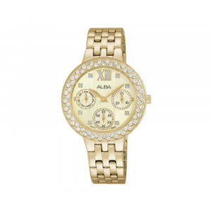 ALBA Ladies' Hand Watch FASHION Stainless Steel Bracelet & Champagne Patterned Dial AP6456X1