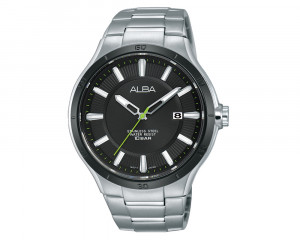 ALBA Men's Hand Watch ACTIVE Stainless Steel Bracelet & Black Patterned Dial AS9A75X1