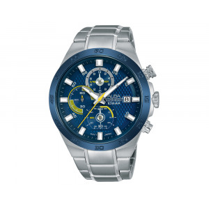 ALBA Men's Hand Watch ACTIVE Stainless Steel Bracelet & Blue Patterned Dial AM3297X1