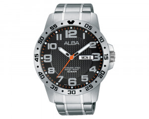 ALBA Men's Hand Watch ACTIVE Stainless Steel Bracelet & Black Patterned Dial AT2031X1