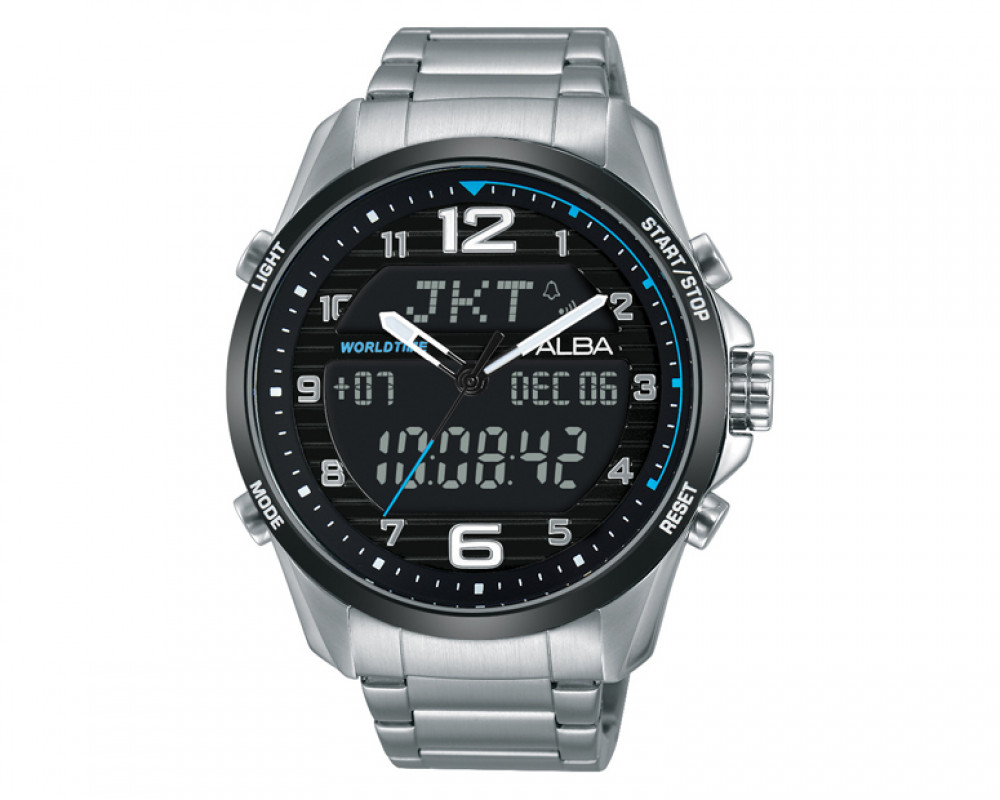 ALBA Men's Digital hand watch Active with Stainless steel band & Black dial AZ4001X1