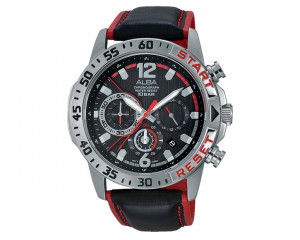 ALBA Men's hand watch Active Black dial and Black leather Strap AT3903X1